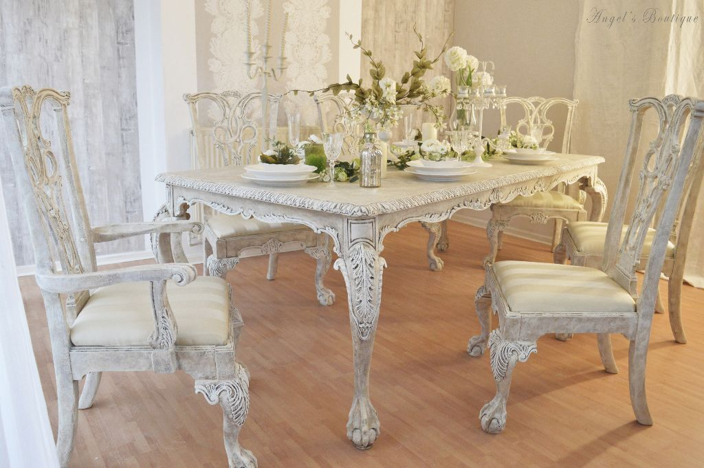 unique french antique shabby chic dining table with six chairs in heybridge essex. Black Bedroom Furniture Sets. Home Design Ideas