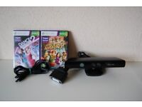 Xbox 360 Kinect With Power Supply + Games