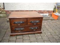 Arighi Bianchi Dark Sheesham Wood and Iron-work TV unit /sideboard/ Lamp Table/drawer unit