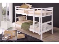 🔴🔵SAME DAY DELIVERY🔴🔵Flat Packed 3FT White Chunky Pine Wood Bunk Bed w Range Of Mattress option