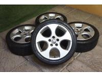 "Genuine VW Polo GTi 16"" Monza Alloy wheels 5x100 Ibiza Fabia Fox 9N Alloys"