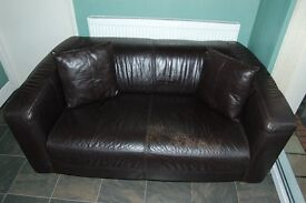Two Seater Leather Sofa - Brown