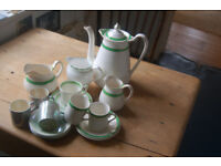Queens green & Solian ware Simpson Potter ltd Corbridge teapot ,cups saucers,jugs & sugar bowl