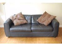 Habitat Black Leather Sofa Bed