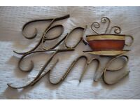 Metal Wall Art reading 'Tea Time' - Kitchen / Cafe / Tea Room