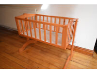 Wooden Swinging Baby Crib Cot with all parts - minus mattress. EXCELLENT CONDITION