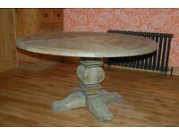 Coach house Large Colonial Reclaimed Pine Round Dining Table