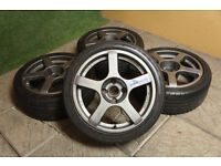 "Genuine Compomotive RS170 17"" Alloy wheels 4x114.3 S12 S13 180SX 200SX Skyline JDM Alloys drift"