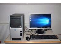 Full Desktop PC, Intel Celeron CPU, 320GB HDD, 4GB Ram, DVD-RW Lightscribe, WiFi, Running Win 10 Pro