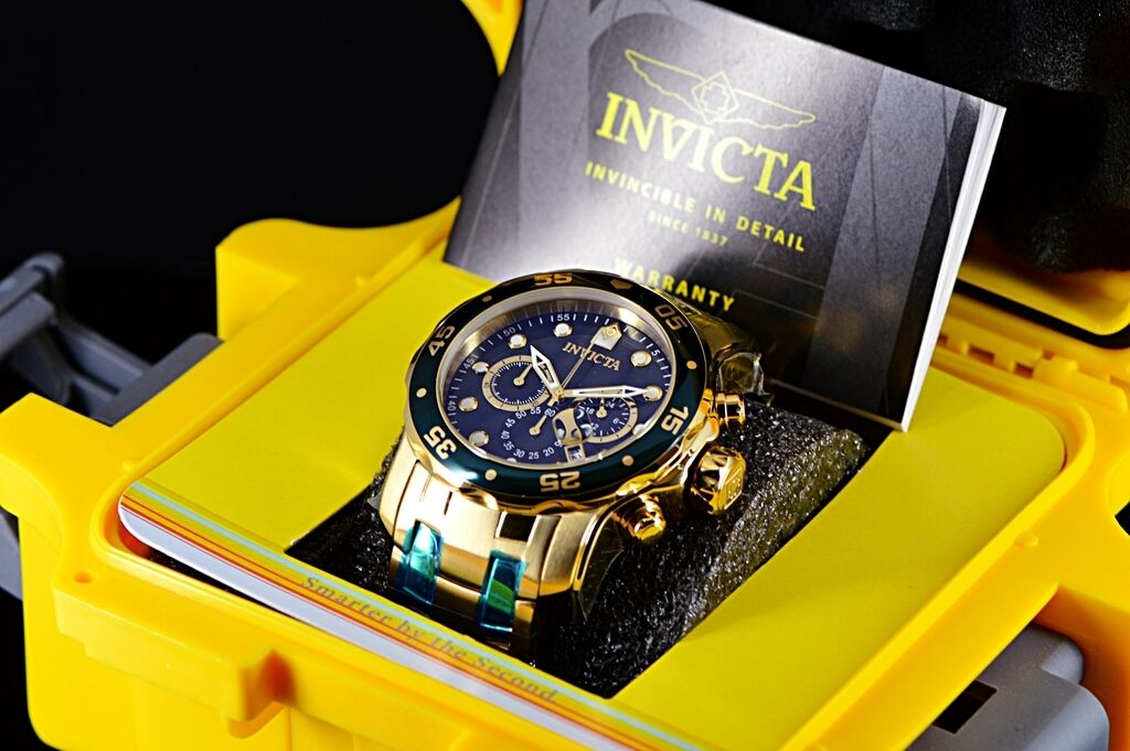 $99.95 - Mens Invicta Pro Diver Scuba Gold IP SS Black Dial Green Bezel Chrono 48mm Watch