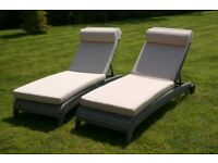 Rattan reclining Sun Loungers with cushions x 2 Immaculate condition