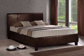**WIDE RANGE OF MATTRESSES AVLBL** BRAND NEW- DOUBLE Leather Bed FRAME in black and brown color
