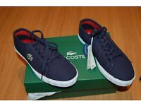 BNWT Lacoste canvas boys shoes, size 3