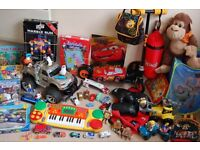Bundle of kids toys with carpet.