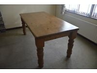 Antique Pine farmhouse country kitchen dining table