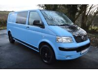 VW T5 Transporter LWB 2.5Ltr 130BHP - 6 Seat - Danish Blue - Privacy Glassed - Day Van Converted