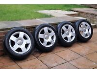 "16"" Audi Alloys Wheels & Tyres 205/55/15 pcd 5x112 Skoda Seat Golf VW T4 # 8E0601025C"