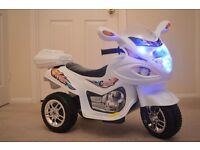 Kids Electric Bike Childs Ride On Battery Buggy Boys Motorbike New WHITE