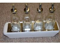 Lovely set of 4 Square Olive Oil & Vinegar Dressing Drizzler Bottle With Tapor