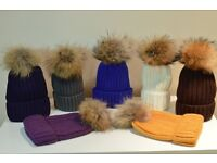 Beautiful mink fur large pom pom hats (various colours available) beanie blue black white grey brown