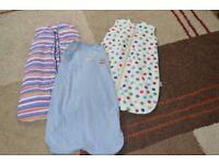 4 x baby sleeping bags 0 - 6 months 1 tog and 2.5 tog