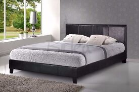 LOW FRAME LEATHER BED WITH MEMORY RANGE MATTRESS (NEXT DAY DELIVERY)