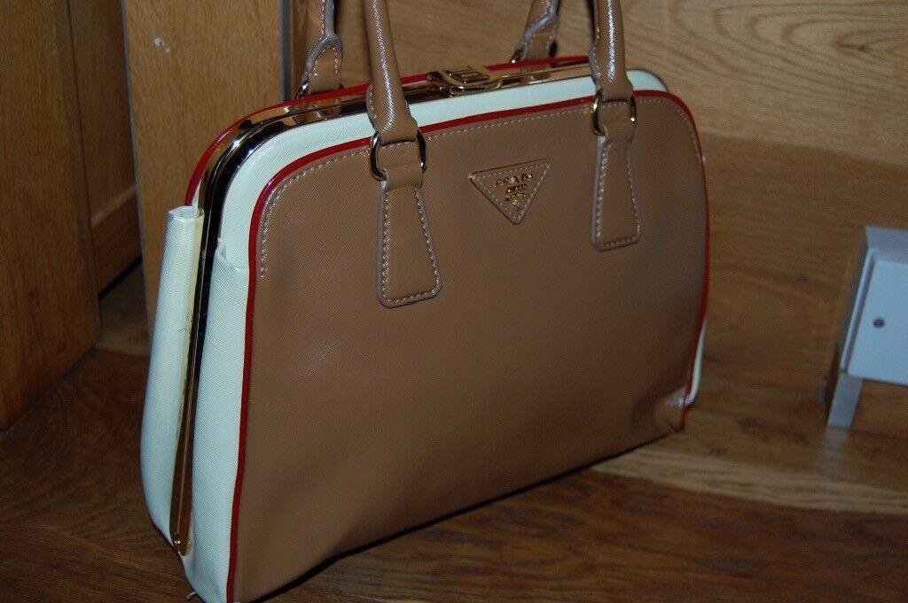 6435a867700 Prada Limited Edition Camel   White Leather Pyramid Frame Bowler Bag    Handbag