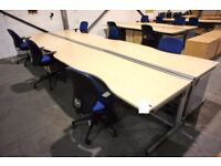 6-person Desk Cluster, comprising 6 oak effect wave fronted desks, 1800mm x 900mm,