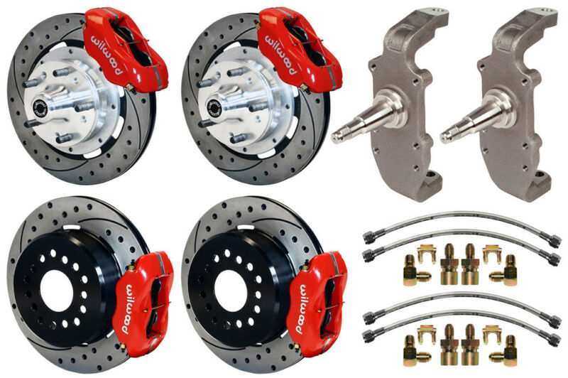 "Wilwood Disc Brake Kit & 2"" Drop Spindles,55-57,12"" Drilled,red Calipers,heidt"