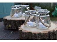 9x Lovely Glass Jars with Rope Handles - Great for Weddings or Home Decor!