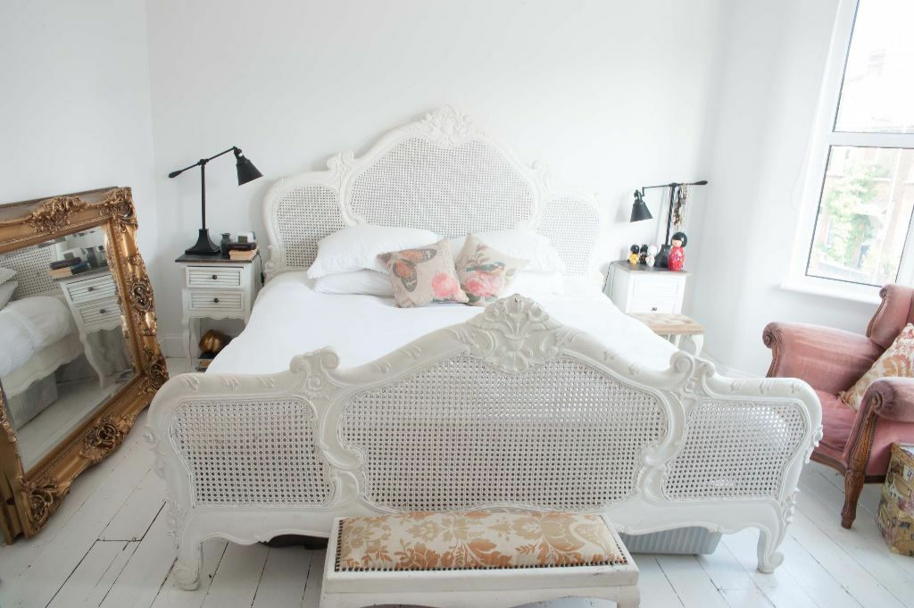 6 Super King Size French Vintage Rattan Reproduction Antique White Bed Materess