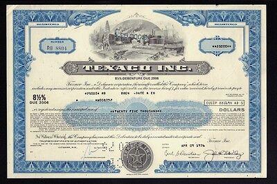 OIL : Texaco Inc ( now Chevron Texaco White Plains) old bond  USD 25,000.00 1976