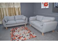 Brodie 3-Seater plus 2-Seater Fabric Sofa Set In Grey chenille