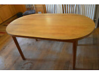 Round ended solid pine kitchen / dining table