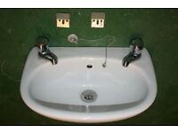 Hand Wash Basin for WC complete with Hot and Cold Swan Taps £15