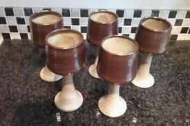 5 pottery wine glasses