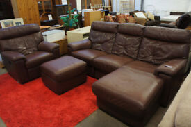 Brown leather corner sofa and electric reclining armchair. Delivery available