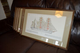 6 x Vintage Framed Sailing ship lithographic prints C. Plath company