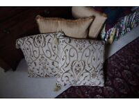 Feather filled Gold Upholstery Fabric Large Cushions.