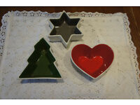 Sagaform Scandanavian christmas ceramic nibbles bowls decorations, heart, tree, star