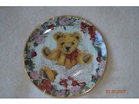 Collection of 7 Teddy Bear Plates with hangars numbered limited editions.