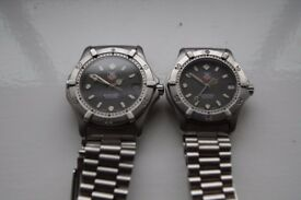 Tag Heuer 2000 series automatic mechanical wristwatches - pair - Swiss - '80s vintage