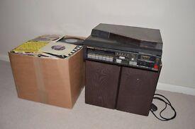 "Vintage Panasonic SG X10 Record Player, Original Speakers & Huge Box of 7"" Singles Vinyl Records"