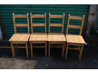 SET OF 4 X CORONA MEXICAN STYLE DISTRESSED PINE DINING CHAIRS