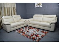 EX DISPLAY SEMI-ANILINE CREAM LEATHER 3+2 SOFA SET WE DELIVER HIGH QUALITY HEAVY SOFAS