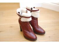 Hobbs ladies brown ankle boots with sheepskin top in near perfect condition, size 37.