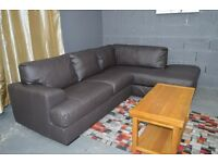 EX DISPLAY Salvatore Real Leather Right Hand Corner Sofa - Chocolate.