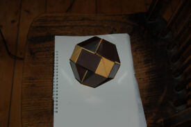 1980's Rubiks cube snake in cream and brown