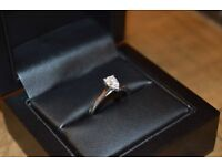 0.38 CARAT, D, SI2 PEAR-SHAPED DIAMOND SOLITAIRE RING WITH PLATINUM BAND