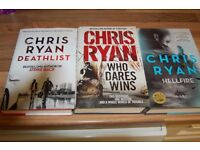 3 CHRIS RYAN hardback books with dust covers good used condition